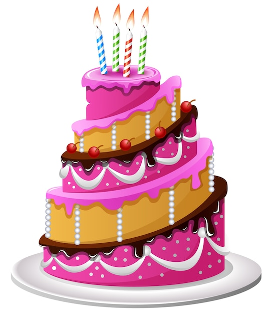 Cartone animato torta di compleanno scaricare vettori premium