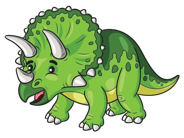 Cartone animato triceratopo Vettore Premium
