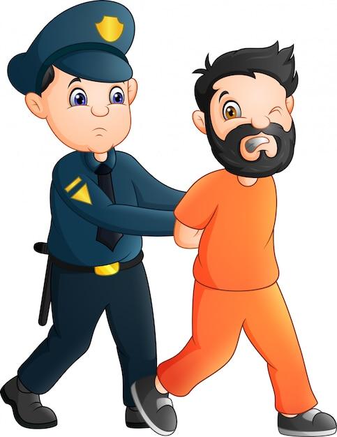 Cartone animato ufficiale di polizia con un prigioniero Vettore Premium