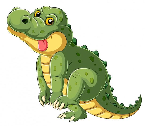 Cartone animato un grande alligatore con la lingua fuori Vettore Premium