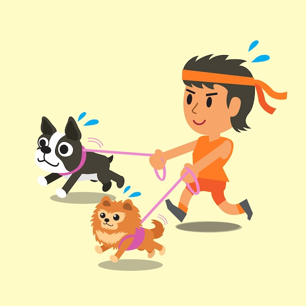 Cartone animato una donna che corre con i suoi cani scaricare