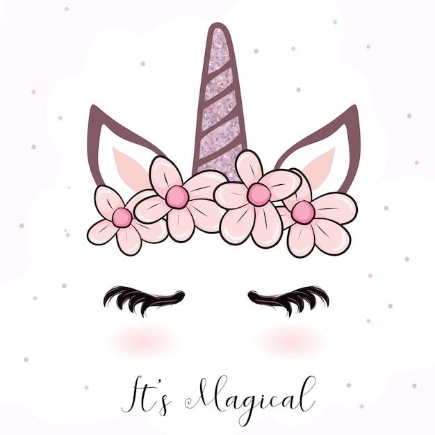 Cartone animato unicorno carino con corona di fiori Vettore Premium