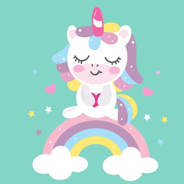Cartone animato unicorno ute con arcobaleno pastello Vettore Premium