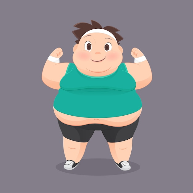 Cartone animato uomo grasso in uniforme sportiva scaricare