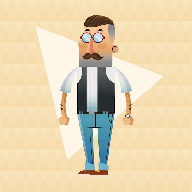 Cartone animato uomo hipster con baffi e occhiali scaricare