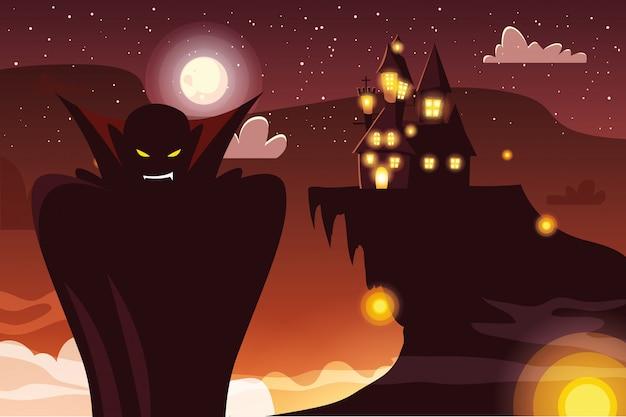 Cartone animato vampiro halloween Vettore Premium