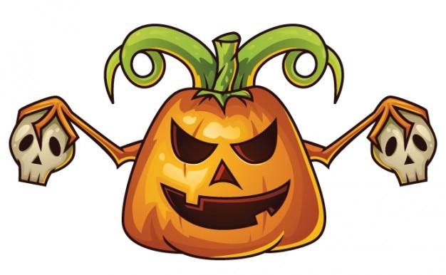 Cartone animato zucca di halloween con teschi scaricare