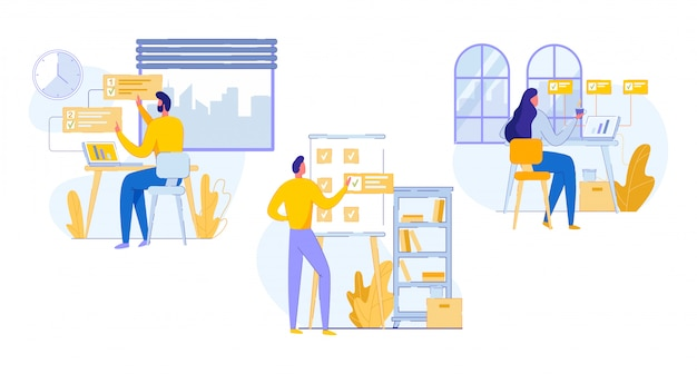 Cartone pubblicitario professionale banner di pianificazione del lavoro d'ufficio Vettore Premium