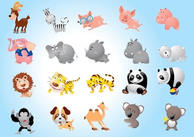 Cartoni animati animali pacco scaricare vettori gratis