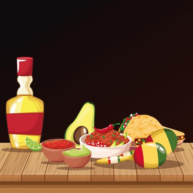 Cartoni animati cibo messicano Vettore Premium