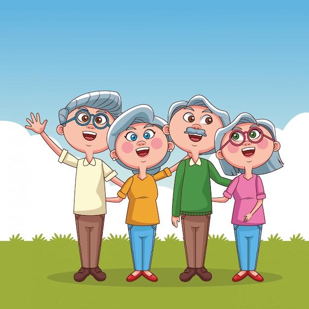 Cartoni animati coppia nonni Vettore Premium
