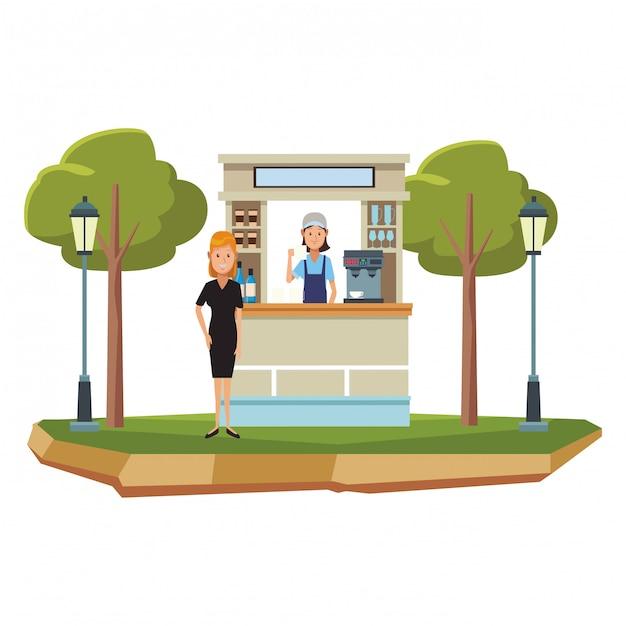 Cartoni animati del negozio di caffè Vettore Premium