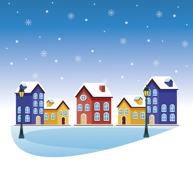 Cartoni animati del paesaggio invernale Vettore Premium