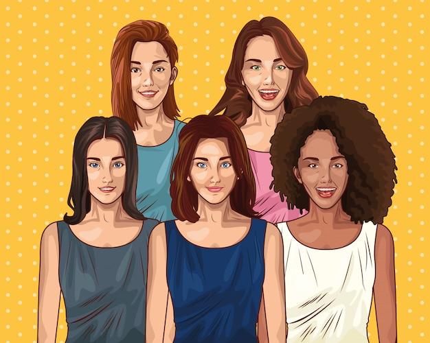 Cartoni animati di donne giovani amici pop art Vettore gratuito