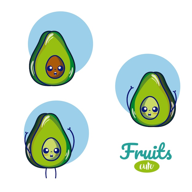 Cartoni animati di frutta avocado Vettore Premium