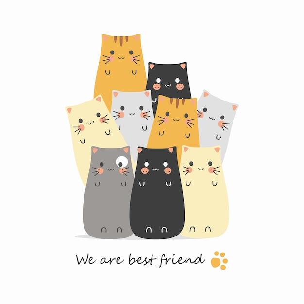 Cartoni animati di gatti carini Vettore Premium