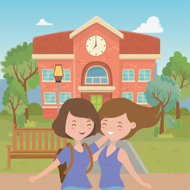 Cartoni animati di ragazze adolescenti Vettore gratuito