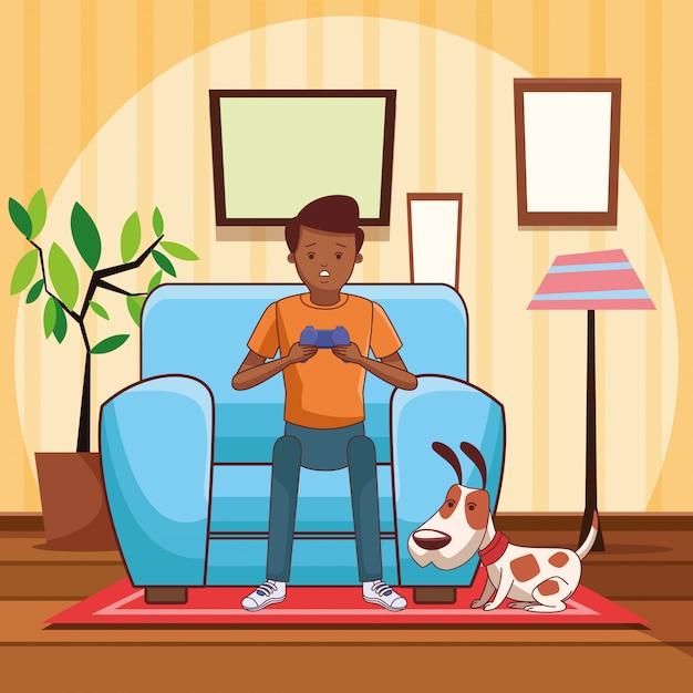 Cartoni animati millennial e videogiochi in bianco e nero Vettore Premium