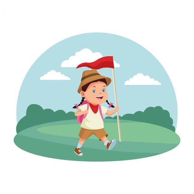 Cartoni animati per bambini e campi estivi Vettore Premium