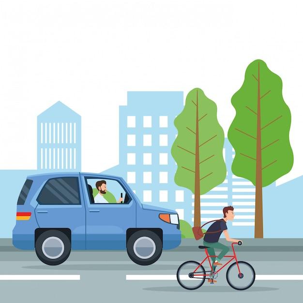 Cartoni animati per il trasporto urbano e la mobilità Vettore Premium