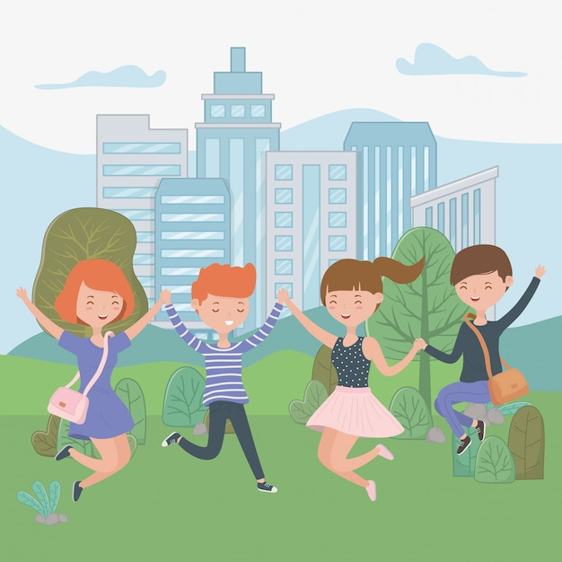 Cartoni animati per ragazzi e ragazze adolescenti Vettore gratuito