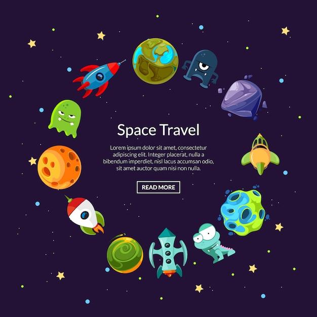 Cartoni animati pianeti spaziali e navi in forma di cerchio banner Vettore Premium