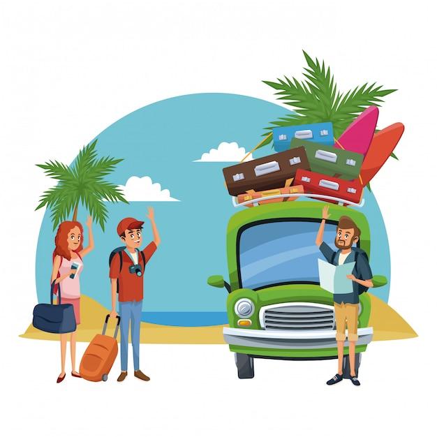 Cartoni animati spiaggia e amici Vettore Premium
