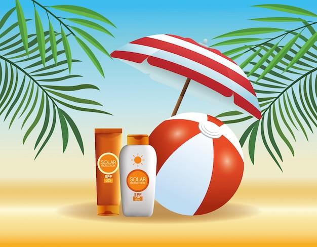 Cartoni dei prodotti estivi e da spiaggia Vettore gratuito