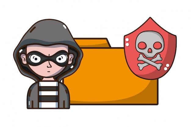 Cartoni per la minaccia della cibersicurezza Vettore Premium
