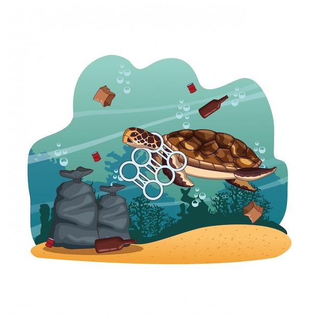 Cartoni per la pulizia del mare Vettore Premium
