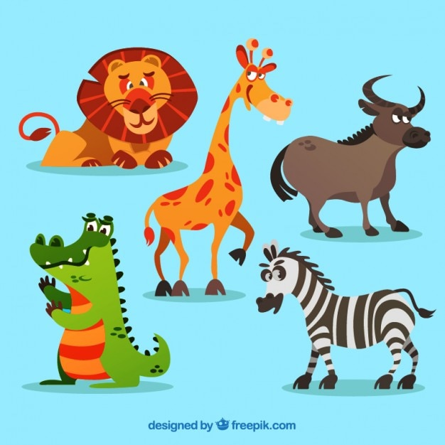Cartoon animali africani impostati Vettore gratuito