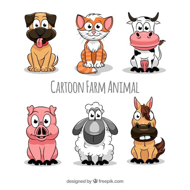 Cartoon animali raccolta animali Vettore gratuito