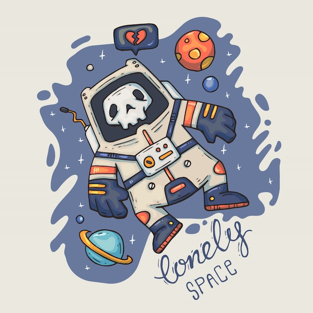 Cartoon astronauta nello spazio. Vettore Premium