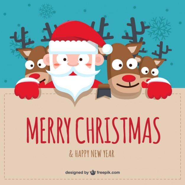 Sfondi Natalizi Renne.Cartoon Babbo Natale E Renne Sfondo Scaricare Vettori Gratis