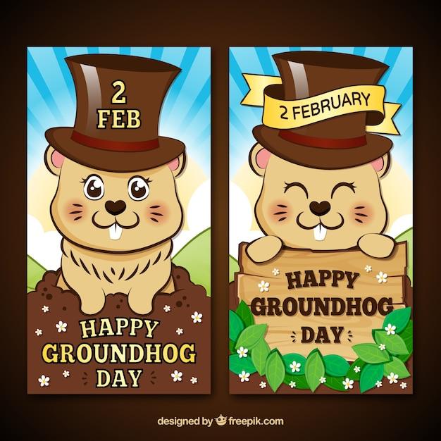 Cartoon banner groundhog Vettore gratuito