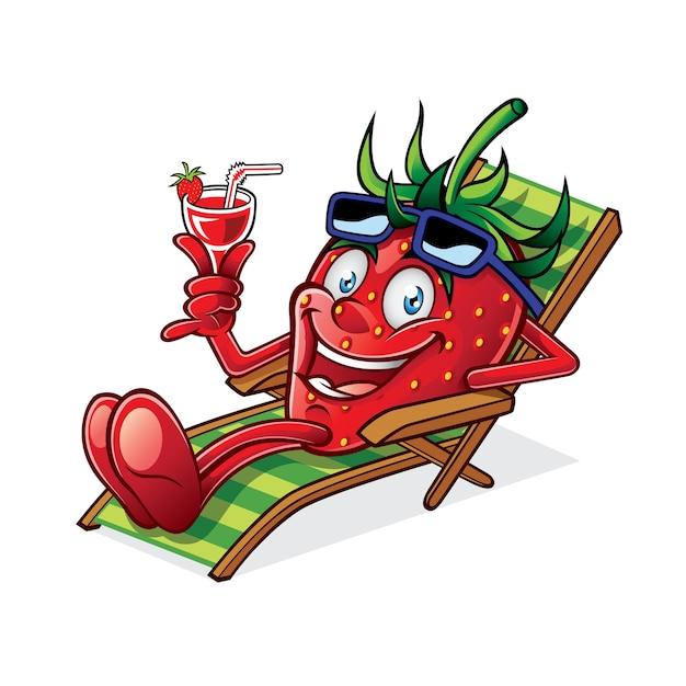 Cartoon berry si stava rilassando su una sedia a sdraio, reggendo bicchieri di bevanda Vettore Premium