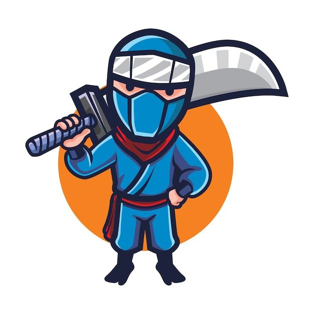 Cartoon big blade ninja mascot Vettore Premium