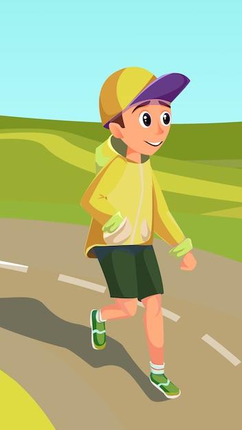 Cartoon boy running on track. maratona dei bambini Vettore Premium