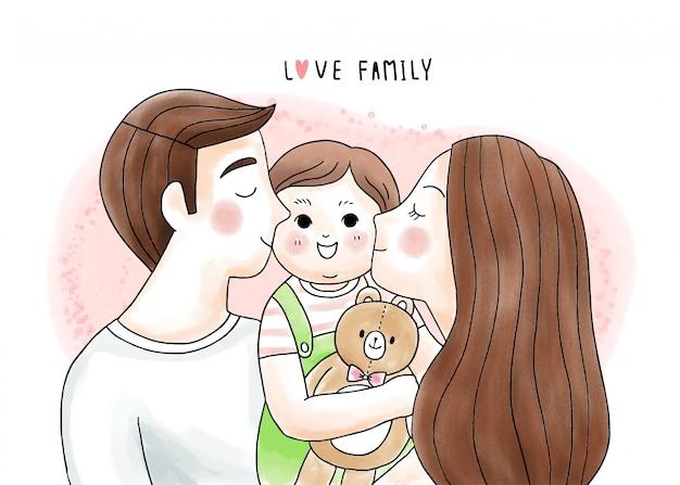 Cartoon carino padre e madre baciano e abbracciano il nostro bambino e la bambola dell'orso Vettore Premium