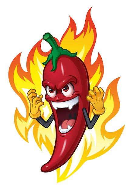 Cartoon chili in fire Vettore Premium