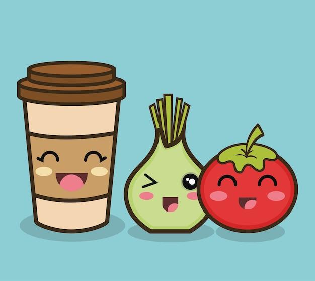 Cartoon cipolla pomodoro e tazza di caffè Vettore Premium