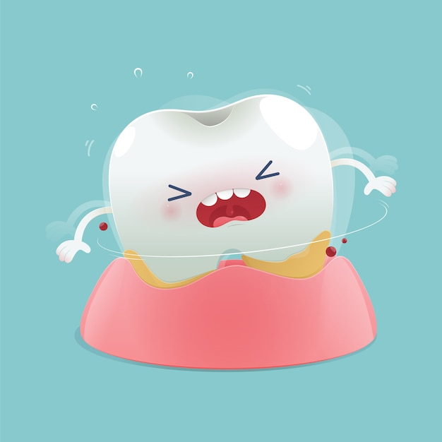 Cartoon denti sciolti Vettore Premium