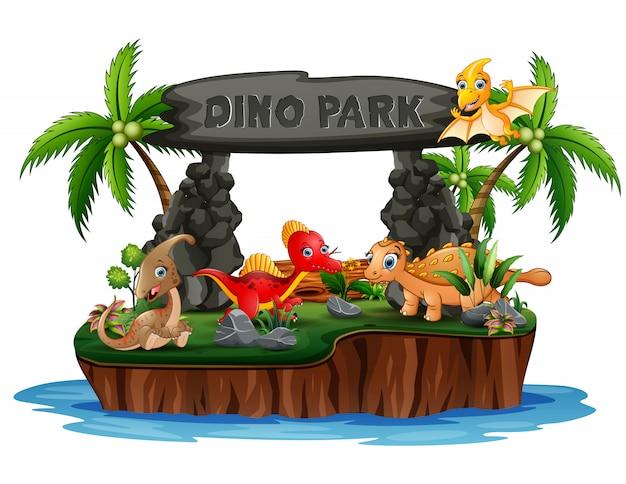 Cartoon dinosauri a dino park island Vettore Premium