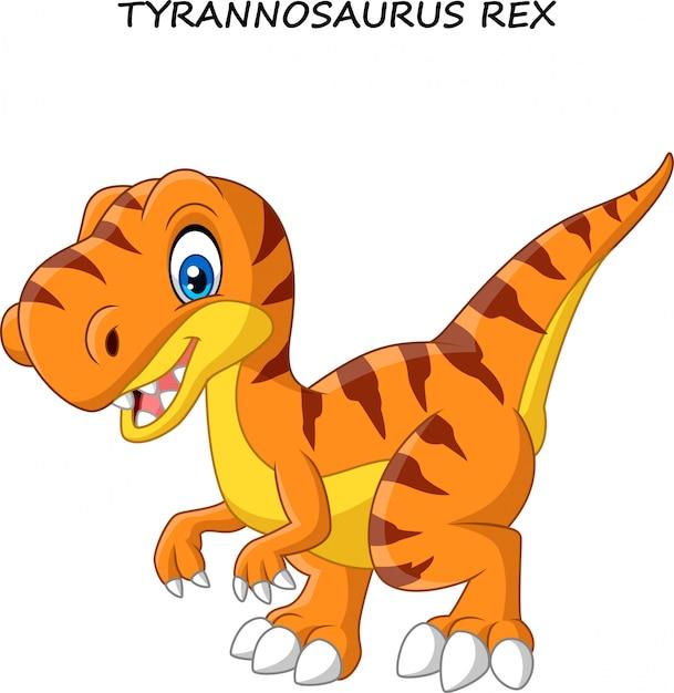 Cartoon divertente tirannosauro Vettore Premium