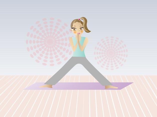 Ufficio Disegno Yoga : Cartoon donna che fa yoga scaricare vettori gratis