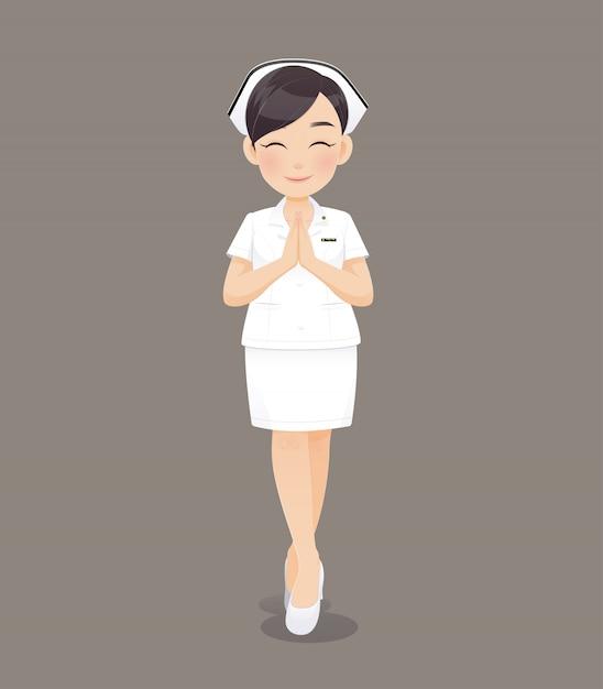 Cartoon donna medico o l'infermiere in uniforme bianca in possesso di un appunti, sorridente personale infermieristico femminile Vettore Premium