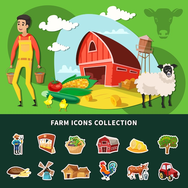 Cartoon farm composition Vettore gratuito