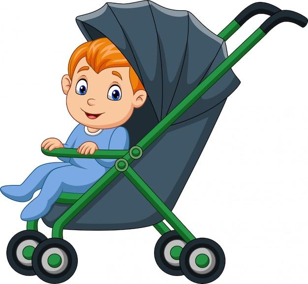 Cartoon felice bambino in un passeggino Vettore Premium