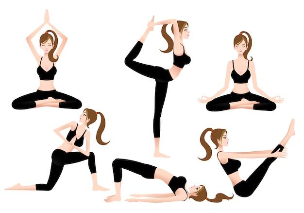 Cartoon female yoga trainer permette di giocare a yoga da solo. Vettore Premium