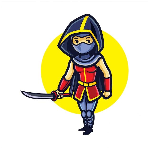 Cartoon girl ninja Vettore Premium